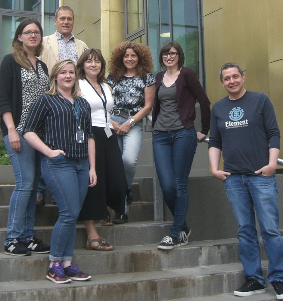 Some members of the Glasgow Zika Team photographed following a lab meeting at the Centre for Virus Research. Left to Right: Verena Schultz, Stephanie Cumberworth, Hugh Willison, Julia Edgar, Susan Barnett, Madeleine Cunningham, Alain Kohl.
